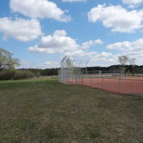 Chain link fence on baseball field